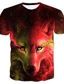 ieftine Maieu & Tricouri Bărbați-Bărbați Rotund - Mărime Plus Size Tricou De Bază - Animal Lup / Manșon scurt
