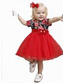 tanie Sukienki dla dziewczynek-Dzieci Dla dziewczynek Aktywny / Moda miejska Codzienny / Weekend Kwiaty Łuk / Siateczka / Patchwork Krótki rękaw Midi Bawełna / Poliester Sukienka Czerwony 100