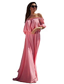 baratos Vestidos Longos-Mulheres Tamanhos Grandes Delgado balanço Vestido Sólido Sem Alças / Ombro a Ombro Longo