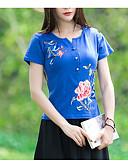 abordables Camisetas y Tops de Hombre-Mujer Básico Camiseta, Escote en Pico Floral