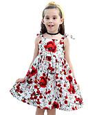 お買い得  女児 ドレス-子供 / 幼児 女の子 活発的 / 甘い お出かけ / ビーチ フラワー プリント ノースリーブ 膝丈 コットン / ポリエステル ドレス ルビーレッド