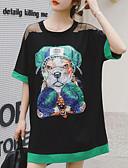 tanie T-shirt-Damskie Podstawowy Puszysta Bawełna Luźna Spodnie - Zwierzę Psy, Cekiny / Patchwork / Nadruk Czarny