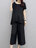hesapli Kadın Gecelikleri-Kadın's Büyük Bedenler Vintage / Actif Karpuz Kol Set - Büzgülü, Solid Pamuklu Pantolon