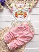 cheap Girls' Clothing Sets-Toddler Girls' Vintage Daily / Holiday Print Print Short Sleeve Regular Cotton / Acrylic Clothing Set Pink