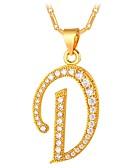 tanie Kwarcowy-Cyrkonia Geometryczny Naszyjniki z wisiorkami - Kształt alfabetu Moda Złoty, Srebrny 55 cm Naszyjniki Biżuteria Na Codzienny