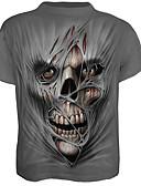 preiswerte Herren T-Shirts & Tank Tops-Herrn Einfarbig Totenkopf Motiv - Totenkopf Übertrieben T-shirt Druck