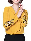 abordables Abrigos y Gabardinas de Mujer-Mujer Básico Bordado Blusa Floral