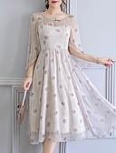 baratos Vestidos de Mulher-Mulheres Vintage / Sofisticado Tamanhos Grandes Delgado Calças - Floral Estampado Bege / Feriado / Para Noite