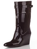 abordables Vestidos de Noche-Mujer Zapatos PVC Otoño invierno Botas de lluvia Botas Tacón Cuña Dedo Puntiagudo Mitad de Gemelo Negro / Almendra / Caqui