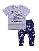 cheap Girls' Clothing-Toddler Boys' Basic Daily / Sports Print Print Short Sleeve Regular Regular Cotton / Polyester Clothing Set Navy Blue