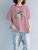tanie T-shirt-T-shirt Damskie Bawełna Prążki