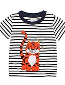 Χαμηλού Κόστους Βρεφικά Για Αγόρια μπλουζάκια-Μωρό Αγορίστικα Βασικό Ριγέ / Στάμπα Κοντομάνικο Βαμβάκι Κοντομάνικο Λευκό / Νήπιο