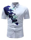 povoljno Muške majice i potkošulje-Majica Muškarci - Osnovni / Boho Pamuk Jednobojni / Cvjetni print Kineski ovratnik Slim, Print Obala XL