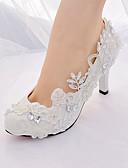 זול שמלות קוקטייל-בגדי ריקוד נשים נעלי חתונה עקב סטילטו בוהן מחודדת ריינסטון / דמוי פנינה / פאייטים תחרה רצועה אחורית / בלרינה בייסיק אביב קיץ לבן