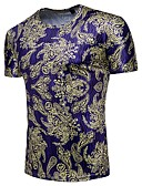 cheap Men's Hoodies & Sweatshirts-Men's Beach Basic Cotton Slim T-shirt - Paisley Print Round Neck / Short Sleeve