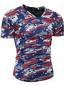 tanie Koszulki i tank topy męskie-T-shirt Męskie Aktywny / Podstawowy Bawełna Okrągły dekolt Szczupła - Kamuflaż / Krótki rękaw
