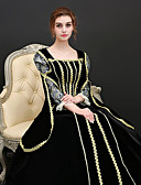 cheap Historical & Vintage Costumes-Princess Renaissance Costume Women's Dress Outfits Party Costume Masquerade Black Vintage Cosplay Polyster 3/4 Length Sleeve Puff / Balloon Sleeve Ball Gown Plus Size Customized