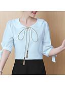 ieftine Bluză-bluza pentru femei - gât rotund solid colorat