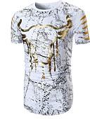 ieftine Maieu & Tricouri Bărbați-Bărbați Rotund Tricou Bumbac De Bază - Animal Imprimeu / Manșon scurt