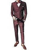 זול בלייזרים וחליפות לגברים-אחיד דש קלאסי חליפות-בגדי ריקוד גברים / שרוול ארוך