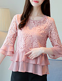cheap Women's Blouses-Women's Basic Blouse - Solid Colored Lace / Patchwork / Summer