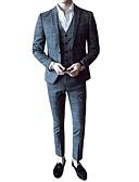 povoljno Muške košulje-Muškarci Party / Rad Proljeće & Jesen Normalne dužine odijela, Houndstooth Fantastične zvijeri Klasični rever Dugih rukava Poliester / Spandex Sive boje / Svjetlosmeđ 52 / 54 / 56 / Poslovni casual