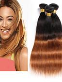baratos Macacões & Macaquinhos-3 pacotes Cabelo Brasileiro Liso Cabelo Virgem / Cabelo Humano Âmbar 8-26 polegada Âmbar Tramas de cabelo humano Sem Cheiros / Natural / Melhor qualidade Extensões de cabelo humano / Reto