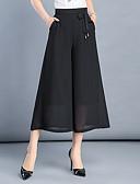 tanie Damskie spodnie-Damskie Puszysta Luźna Spodnie szerokie nogawki Spodnie - Solidne kolory Czarny