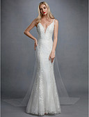 cheap Wedding Dresses-Mermaid / Trumpet V Neck Sweep / Brush Train Lace / Tulle Made-To-Measure Wedding Dresses with Appliques by LAN TING BRIDE® / Open Back