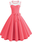 cheap Vintage Dresses-Women's Vintage Swing Dress - Solid Colored