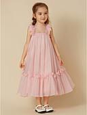 cheap Flower Girl Dresses-Sheath / Column Knee Length Flower Girl Dress - Chiffon Sleeveless Straps with Flower by LAN TING BRIDE®