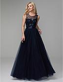 billige Aftenkjoler-A-linje Besmykket Gulvlang Sateng / Tyll Skoleball / Formell kveld Kjole med Perlearbeid av TS Couture®