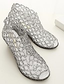 cheap Mother of the Bride Dresses-Women's Shoes PVC(Polyvinyl chloride) Summer Comfort Sandals Wedge Heel Black