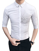 billige T-skjorter og singleter til herrer-Bomull / Rayon Tynn Skjorte Herre - Blomstret Fest / Daglig / Vennligst velg én størrelse over din normale størrelse.