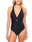 cheap One-piece swimsuits-Women's Simple Halter Neck Black Royal Blue Bandeau High Waist One-piece Swimwear - Solid Colored L XL XXL Black / Sexy