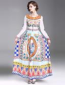 tanie Suknie i sukienki damskie-Damskie Wyjściowe Moda miejska Swing Sukienka - W Tureckie Wzory, Nadruk Maxi