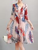 זול שמלות נשים-עלה טרופי מעל הברך משובץ - שמלה ישרה שרוול התלקחות מתוחכם סגנון רחוב בגדי ריקוד נשים