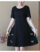 cheap Women's Nightwear-Women's Vintage Puff Sleeve Bodycon Dress - Solid Colored Black & White, Pleated