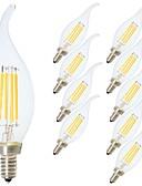 baratos Decorações de Bolo-10pçs 4W 360lm E14 Lâmpadas de Filamento de LED C35L 4 Contas LED COB Regulável / Decorativa Branco Quente / Branco Frio