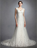 cheap Wedding Dresses-A-Line Queen Anne Court Train Lace / Tulle Made-To-Measure Wedding Dresses with Beading / Appliques / Button by LAN TING BRIDE®