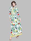 tanie Damskie spodnie-Damskie Podstawowy Swing Sukienka - Geometric Shape, Nadruk Kołnierzyk koszuli Midi / Lato