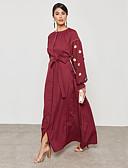 זול שמלות נשים-שמש פרח מקסי חרוזים, אחיד - שמלה נדן / טוניקה / סווינג מתוחכם / סגנון רחוב בגדי ריקוד נשים