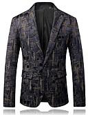 ieftine Blazer & Costume de Bărbați-Bărbați Rever Peaked Zvelt Blazer Petrecere Zilnic Ocazional afaceri-camuflaj / Va rugăm selectați cu o mărime mai mare decât purtați.