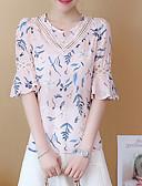 abordables Camisas y Camisetas para Mujer-Mujer Básico Encaje / Ahuecado / Estampado - Algodón Blusa, Cuello Barco Floral / Verano / Patrones florales
