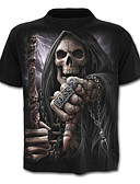 cheap Women's Sexy Clothing-Men's Sports Skull / Active Plus Size Cotton Slim T-shirt - Geometric / Skull Print Round Neck / Short Sleeve