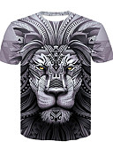 cheap Sport Watches-Men's Basic / Street chic T-shirt - Color Block / Animal Lion, Print
