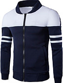 cheap Men's Downs & Parkas-Men's Daily Basic Spring &  Fall / Winter Plus Size Regular Jacket, Color Block Stand Long Sleeve Polyester White / Navy Blue XXL / XXXL / 4XL