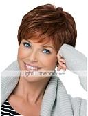 olcso Női pulóverek-Emberi hajszelet nélküli parókák Emberi haj Hullámos / Mély hullám Pixie frizura / Réteges frizura / Bretonnal Oldalsó rész Világosbarna Rövid Sapka nélküli Paróka Mély hullám Női Napi