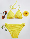 cheap Women's Swimwear & Bikinis-Women's Halter Triangle Bikini - Solid Colored Lace Thong
