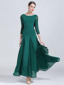 baratos Vestidos para Madrinhas-Dança de Salão Vestidos Mulheres Treino / Espetáculo Tule / Fibra de Leite Pregueado / Combinação Alto Vestido